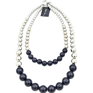 Cookie Lee Double Strand Blk/Silver Bead Necklace